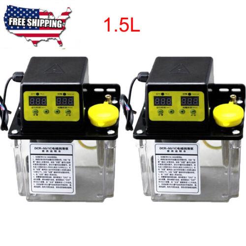 2Pcs 1.5L 6mm Dual Digital Display Automatic Lubrication Pump Oiler NC Pump USA