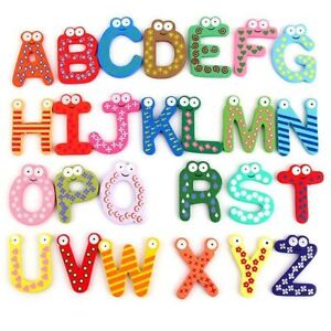 26pcs English A-Z Wooden Letters Cartoon Fridge Magnet,learning toy