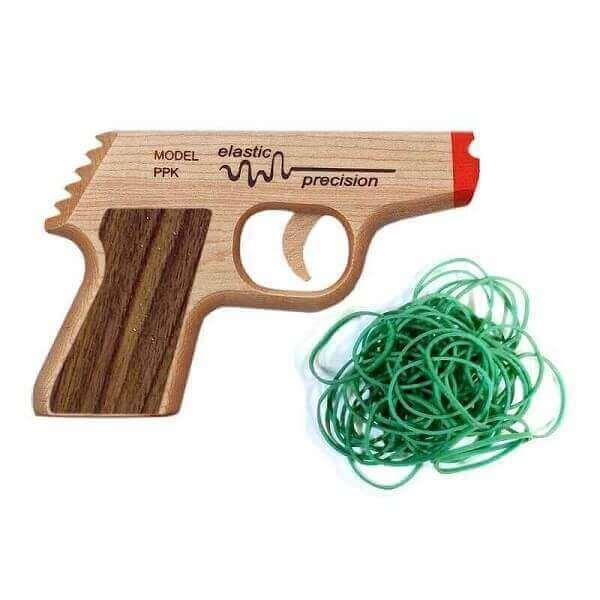 Elastic Precision Model PPK Solid Maple Rubber Band Gun