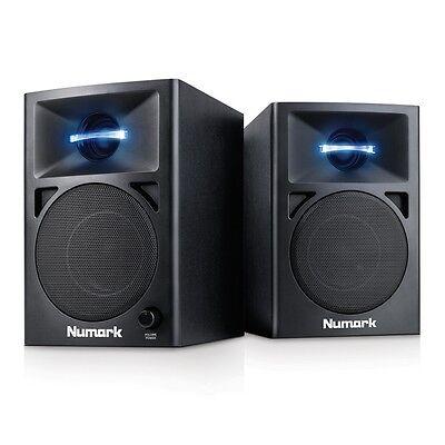 "Numark N-Wave 360 Active Powered 3"" Desktop DJ Studio LED Monitor Speakers"