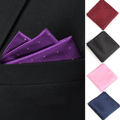 Classic Mens Dots Silk Handkerchief Hanky Pocket Square Wedding Suit Napkin Tie