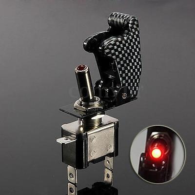 12v Illuminated LED Toggle Switch ON/OFF Missile Style Flip Up Cover car dash