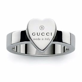 GENUINE GUCCI STERLING SILVER TRADEMARK HEART RING N/O