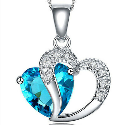 Fashion Women Heart Crystal Rhinestone Chain Silver Pendant Necklace Jewelry 18""