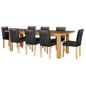 Shenley Oak Effect Extendable Table & 8 Black Chairs