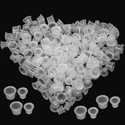 200X Tattoo Ink Cups Kappe Farbkappen S+M 2 Größen Plastikkappen Weiß Praktisch ()