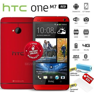 """New Unlocked HTC ONE M7 Red 4.7"""" FHD Quad Core 32GB 4G LTE Android Cell Phone"""