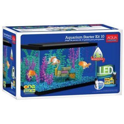 10 Gallon Aquarium Kit Fish Tank Aquarium Fish Tank Led Light Hood Filter Clear