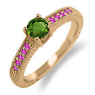Chrome Diopside Solitaire Rose Gold Fine Rings