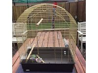 Brass parakeet cage with accessories