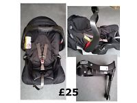 Redused Graco Junior Baby Car rear facing Seat suitable from birth and base (USED)