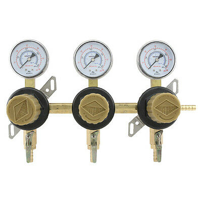 3-way Secondary Air Regulator - Polycarbonate Bonnet - Co2 To 3 Draft Beer Kegs