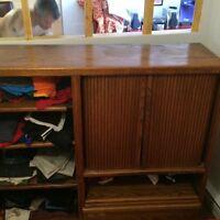 Ancien meuble TV couleur teck recycle en commode