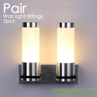 1 Pair of Modern IP44 Silver Chrome & Glass Indoor Wall Light Fittings Lights HT