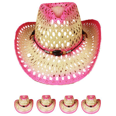 12 WHOLE SALE COWBOY Western HAT PINK Cowgirl Raffia MEN WOMEN HAT Christmas Gif - Christmas Hats Wholesale