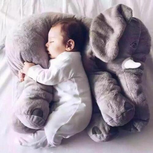 Stuffed Animal Soft Cushion Baby Sleeping Soft Pillow Elephant Plush- Grey