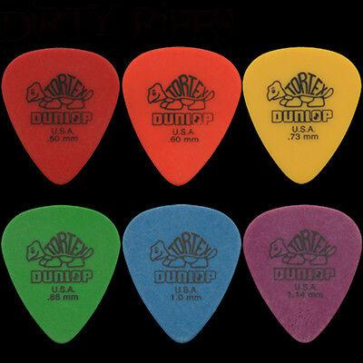 6 Dunlop Tortex Standard Guitar Picks - 1 Of Each Type