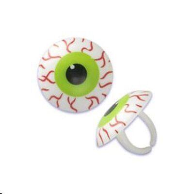 12 Bloodshot Eyeballs Cupcake Ring - Halloween Scary