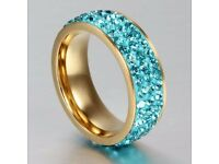 Vintage Titanium Steel Rhinestoned Ring For Women
