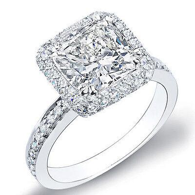 2.11 Ct. Beautiful Cushion Cut Halo Micro Pave Diamond Engagement Ring GIA G,VS2