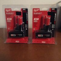 Two M12 Milwaukee batteries.