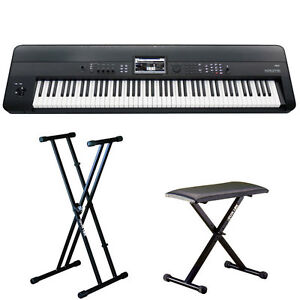 Korg krome 88 88 key keyboard workstation with weighted keys w stand