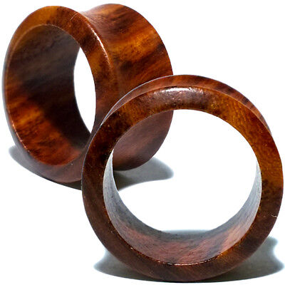 Tunnel Earrings - Pair of Red Sandalwood Flesh Ear Tunnels - Organic Saddle Gauges Plugs Earrings