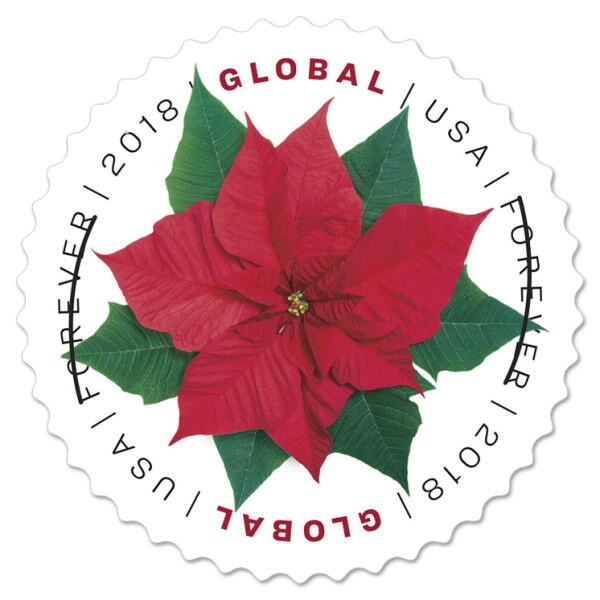 USPS New Poinsettia  (Global Forever) Pane of 10