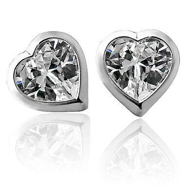 3 Mm Sapphire Heart - 3mm - 6mm HEART SAPPHIRE SCREW BACK EARRINGS 14K WHITE GOLD BABY & ADULT