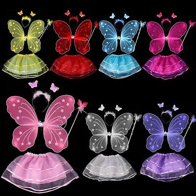 Kids Fairy Dresses (US Girls Kids Fairy Wings Butterfly Fancy Dress Up Costume Party Wedding)