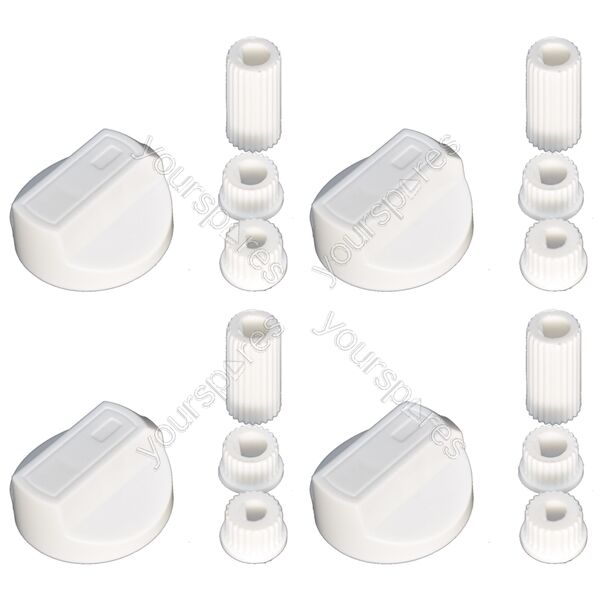 4 X Indesit Universal Cooker/Oven/Grill Control Knob And Adaptors White