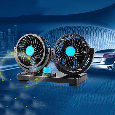 DC12V 360 All Around Dual Fan Car Cooling Fan Adjustable 2 Speed Silent Cooler