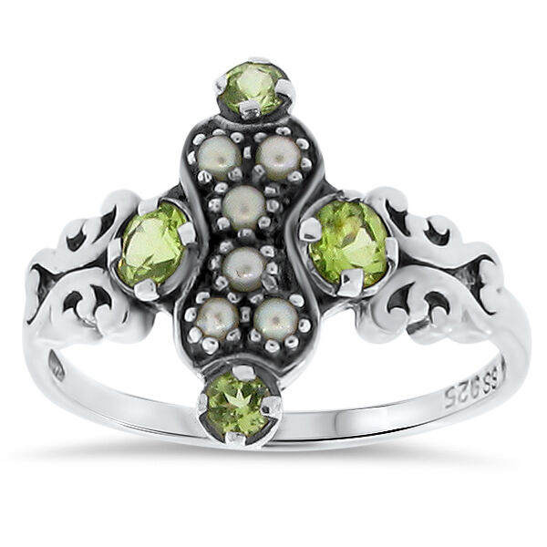 GENUINE PERIDOT & PEARL ANTIQUE STYLE 925 STERLING SILVER RING SIZE 10       #79