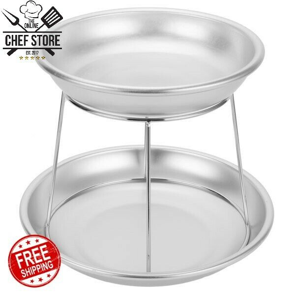 2 Tier Mini Catering Seafood Tower Set Display Aluminum Trays Stand Round Silver