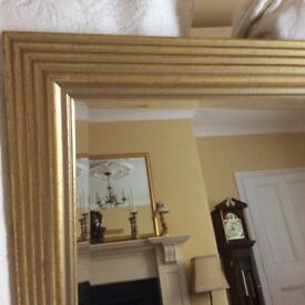 BEVELED EDGE MIRROR WITH SOFT GOLD FRAM