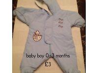 0-3 months baby boy snowsuit/pramsuit