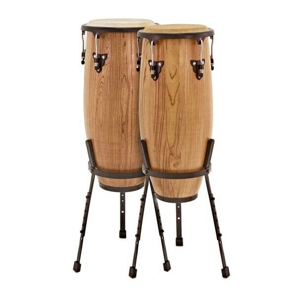 Pro Conga Drums 10'' + 11'' Set with Stands by Gear4music