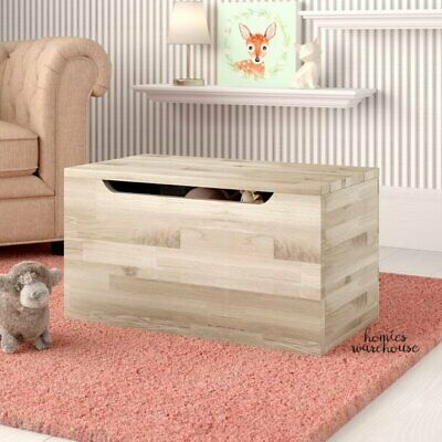 Toy Storage Box Trunk Solid Wood Chest Natural Finish Organizer Play Room Bench Storage Toy Box Bench