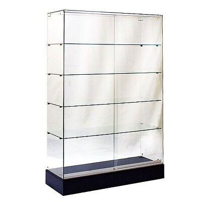 #SAGW4B 6'TALL FULL VISION ALL GLASS WALLCASE TROPHY GLASS DISPLAY CASE BLACK