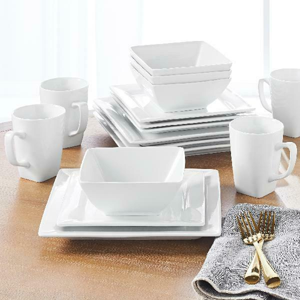 Porcelain Dinnerware Set 16-Piece Square White Dinner Plates