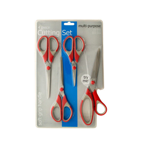 Set of 4 Bulk Lot 4pc Packs Multi-Purpose Scissors with Soft-Grip Handles