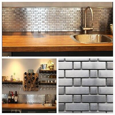 Stainless Backsplash - Stainless Steel Brick and Square Metal Mosaic Tile For Kitchen Backsplash Wall