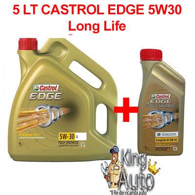 5 LITRI OLIO MOTORE CASTROL EDGE 5W30  FST TAGLIANDO LL VW 504.00 LONG LIFE BMW