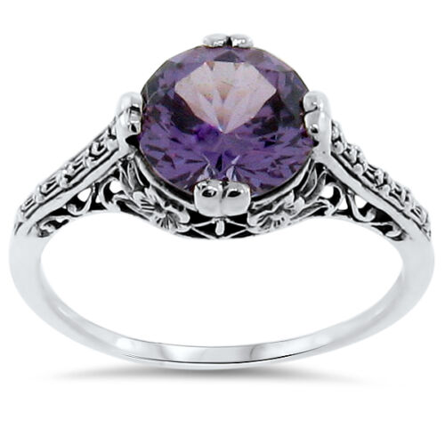 4 Ct COLOR CHANGING LAB ALEXANDRITE ANTIQUE STYLE 925 STERLING SILVER RING  #163