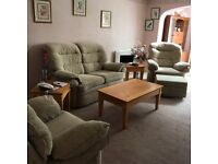 3 piece suite with electric recliner and storage footstool
