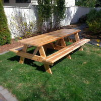Picnic Tables - 3ft to 10ft - Spruce, Treated or Cedar