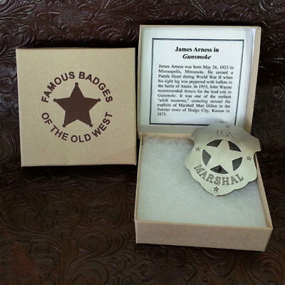 Us Marshall Gunsmoke Badge Matt Dillon (story inside the box)