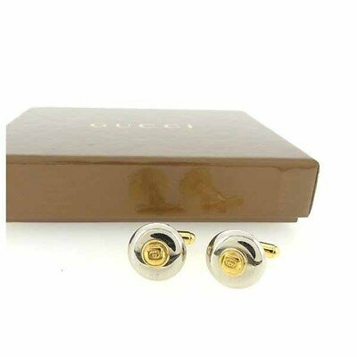 GUCCI Cufflinks Double G Men Authentic Used Y6070