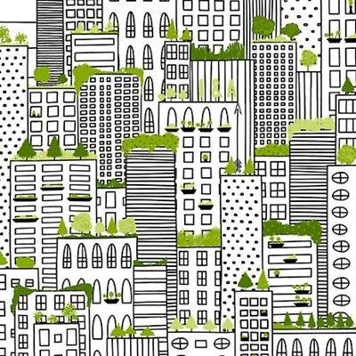 Urban Fabric   City Life Skyscraper Building Black White Green   Ink Arrow Yard