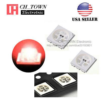 100pcs 5050 2020 Red Light Plcc-6 Smd Smt Led Diodes Emitting Ultra Bright Usa